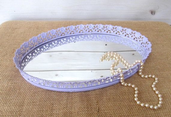 Vanity makeup mirror mirrored tray boudoir purple vintage for Baby tray decoration