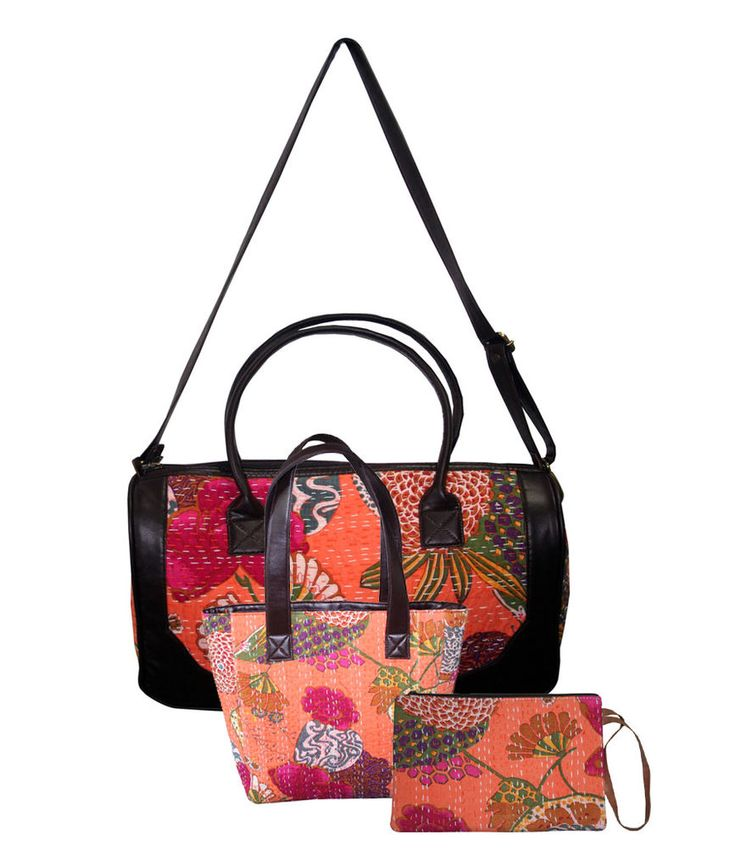New Year Sale 2018 Women's Handbag Shoulder Bag Messenger Kantha Bag 3 Pcs Set  #Handmade #ShoulderBagToteBagClutchBag