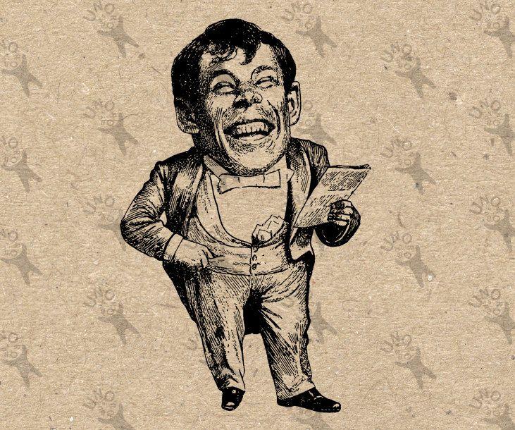 Vintage image Midget Man Circus show Instant Download Digital printable clipart graphic iron on transfer burlap t-shirt decor HQ 300dpi by UnoPrint on Etsy