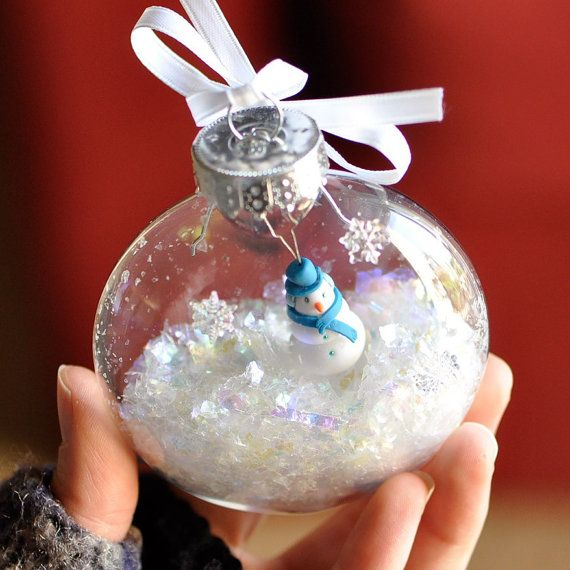 Winter Snowman Ornament in a Snow Globe Christmas by CreaShines, $42.00