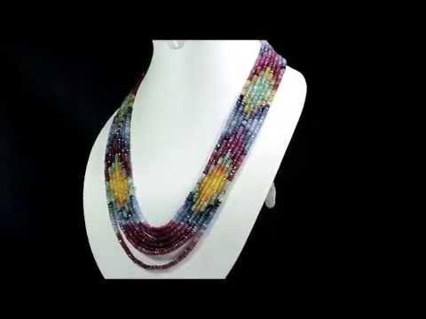 7 Strands Natural Ruby Emerald Sapphire 509ct Multi Row Gemstone Beads N...