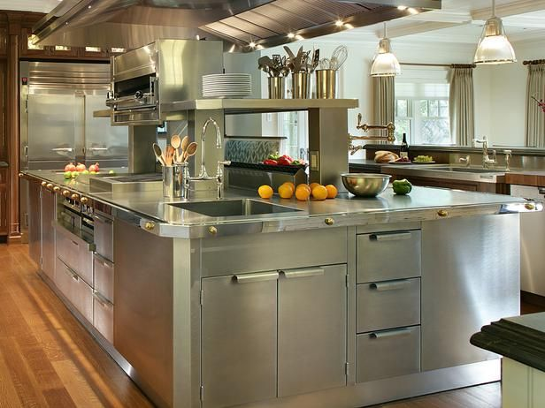 Consider adding stainless steel kitchen cabinets for a sleek look in your cooking space.