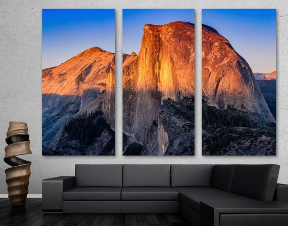 Half Dome Wall Art Mountain Sunset Canvas Print Yosemite National Park Landscape Art Giclee Home Art Decor W In 2020 Sunset Canvas Mountain Wall Art Landscape Art