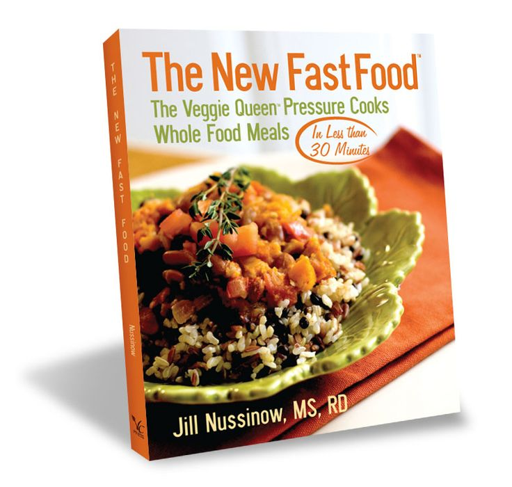 The New Fast Food: The Veggie Queen Pressure Cooks Whole Food Meals in Less than 30 Minutes cookbook and ebook. 150 whole food recipes with 138 gluten-free recipes.