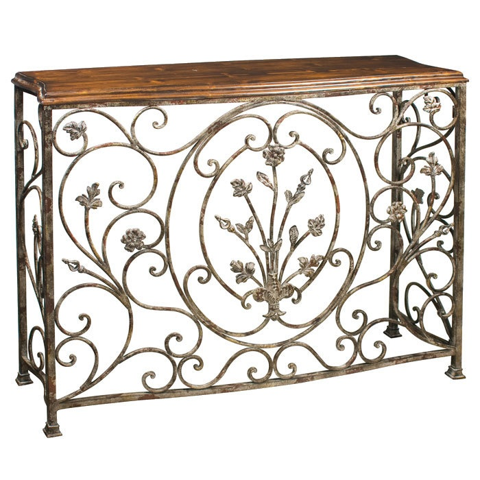 this vintage distressed pecan brown finish metal console table features a wellworn finish with floral accents