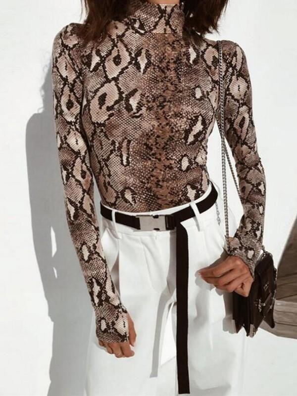 68c5d07ea1f New Brown Snakeskin Print Cobra Bodycon Long Sleeve Trendy Short Jumpsuit