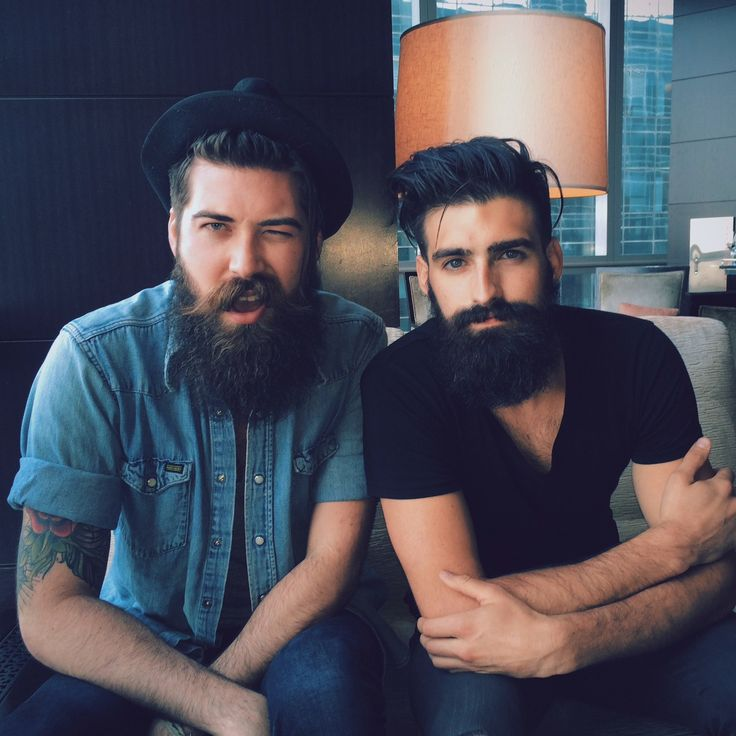 Lane Toran & Joel Alexander - a pair of handsome beards !! full thick dark beard bearded man men black bushy mustache mustaches hairy tattoos #beardsunited #beardsforever