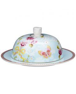 Round Porcelain Butterdish. Beautiful Print in a beautiful blue floral design.