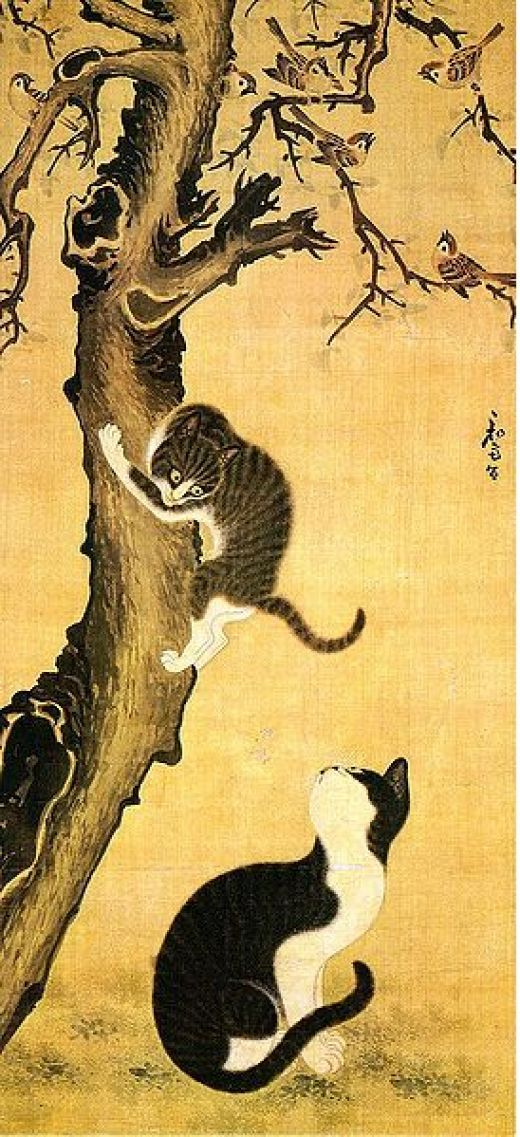 Myojakdo (painting of cats and sparrows) by Byeon Sang-yeok. Image courstesy of Wiki Commons