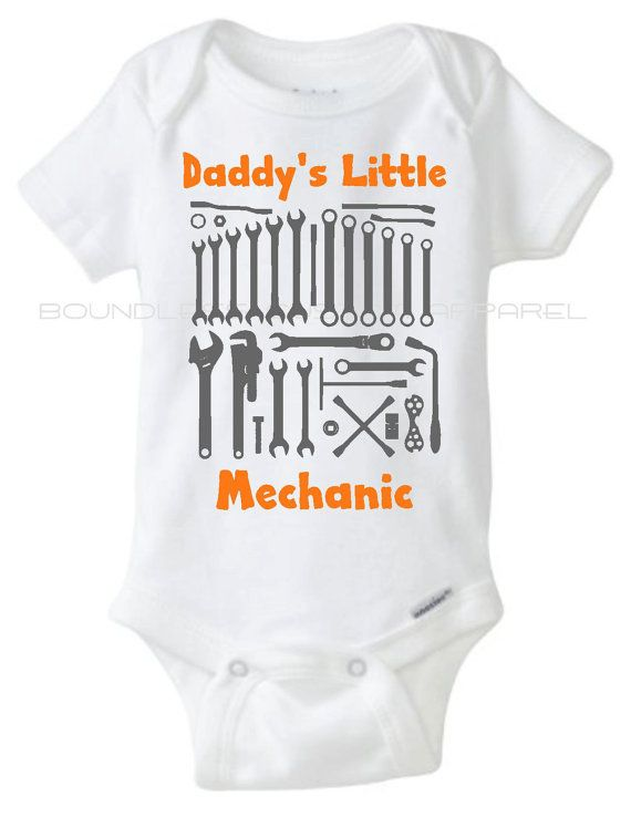Daddy's Little Mechanic  Baby Bodysuit Onesie by BoundlessCustom