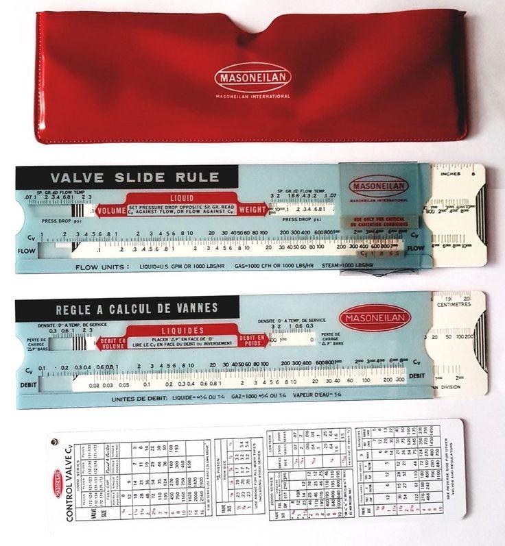 MASONEILAN/ ANNIN Cv (Control Valve) Calculator Flow Slide RuleS, Red Slip Case