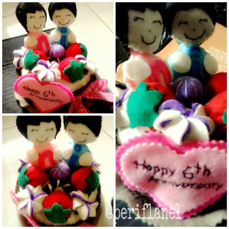 6th Anniversary Felt Cake Jar. handmade. Couple.