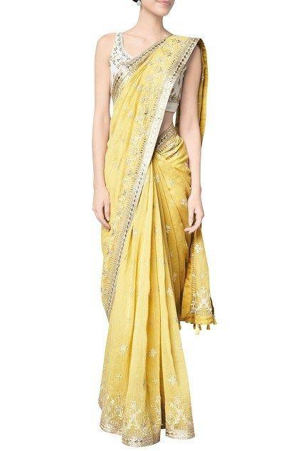 5a1ad71e28 How To Look Stylish For A School Farewell Party   Wedding Saree   Saree,  Saree blouse, Yellow saree