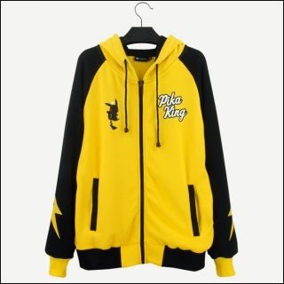 Cosplay Pikachu hoodies anime Pocket Monster yellow zip up hoodies