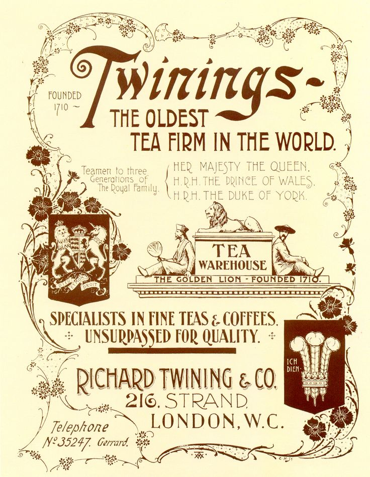 "vintage Twinings tea advertisng poster flyer: ""Twinings-The Oldest Tea Firm in…"