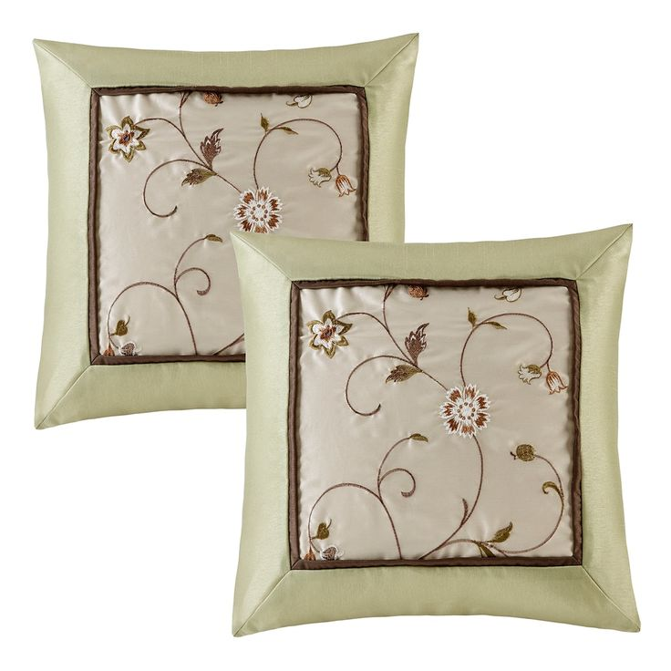 Madison Park 2-piece Embroidered Floral Throw Pillow Set, Green