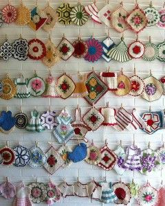 Love vintage potholders but don't know what to do with them? How about creating a display?