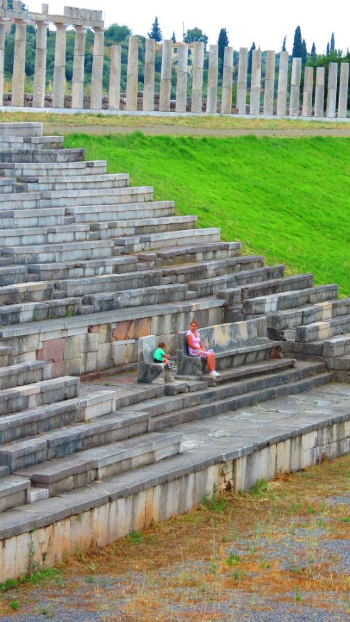 Greece Peloponnese ancient messene stadium crowd