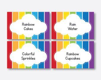 Rainbow food labels / Rainbow party table tents / Rainbow