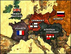 Summing up the nations of both the Triple Entente and Triple  Alliances..  Triple Alliance:  Germany Austria Hungary  Italy  Triple Entente:  Britain France Russia