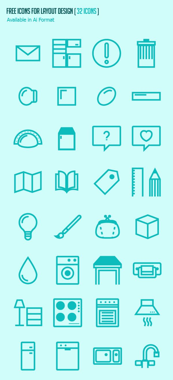 Free Icons for Layout Design #androidicons #freeicons #psdicons #vectoricons #ios8icons