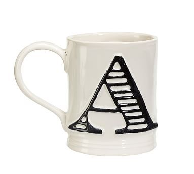 $9.50 a piece so 1.50 over our budget, but cool & more personalized. Embossed Alphabet Mugs #potterybarn