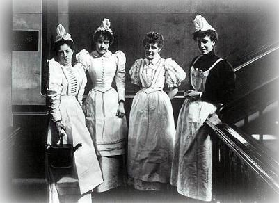 Victorian servants.In the Victorian era there were around 1.3 million people in the servant service.Pretty much all working class woman would become domestic servants.The men would do things like carpentry,agriculture,etc