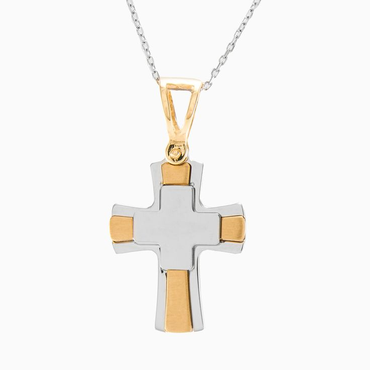 This cross pendant is made in 14k white & yellow gold in smooth polished finish.