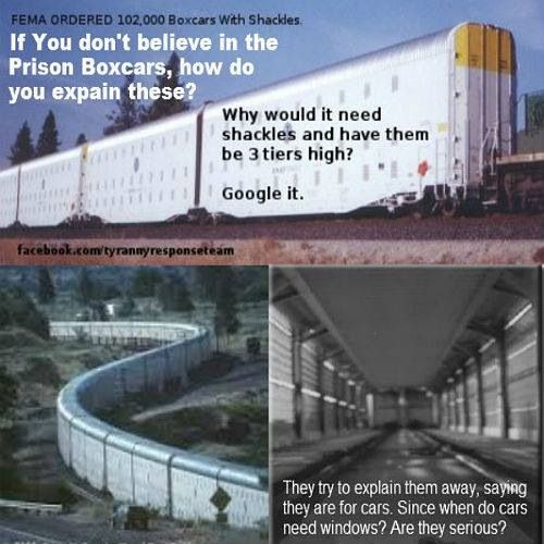 FEMA ordered 102,000 boxcars with shackles