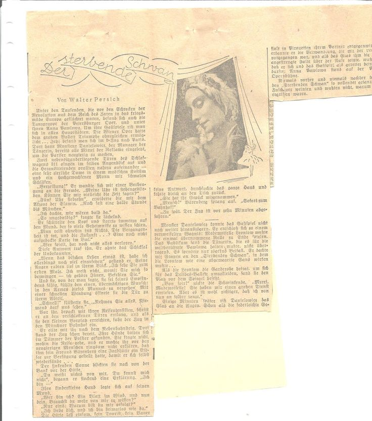Anna Pavlova Clipping German Newspaper Picture Story Plus Translation