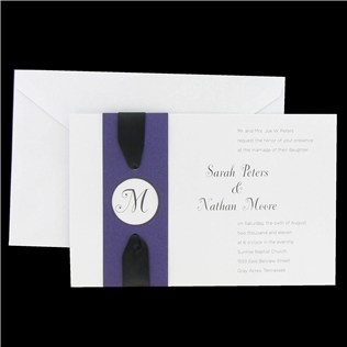 Purple Monogram & Black Satin Ribbon Invitations