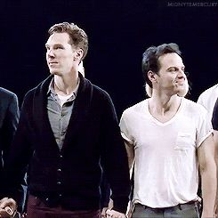 "HA HA This gif: Andrew Scott's expressions seem to read, ""Yeah that's right Cumbercookies, guess who gets to hold his hand?... NOT YOU!! Screw you, Andrew!"