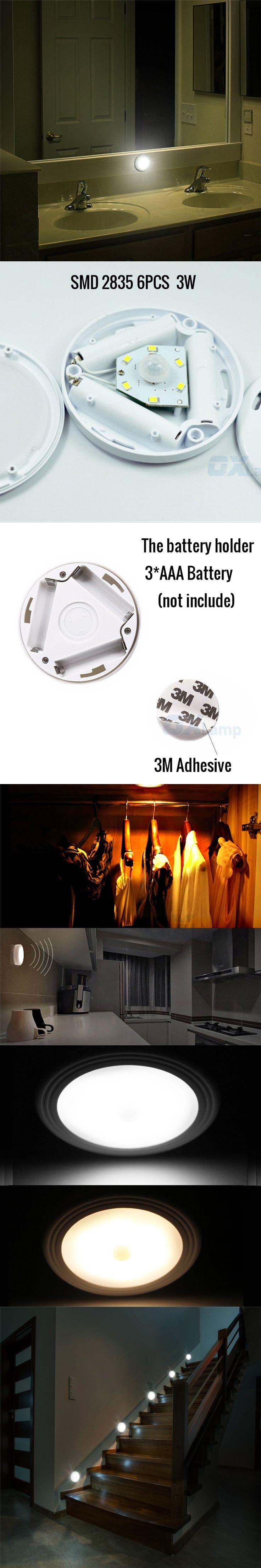 PIR Motion Sensor 6 LED Night Light Wireless Battery Activated Detector Closet Lights Hallway Bedroom Kitchen Wall Ceiling Lamp
