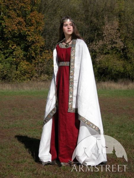 Medieval flax linen western dress costume for sale $300.00 http://armstreet.com/store/clothes/medieval-franks-dress-underdress-and-shawl