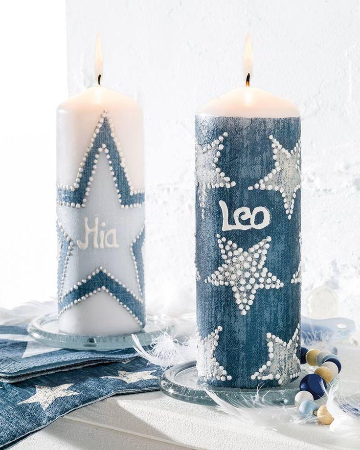 """Kerze zur Geburt im Jeans- Look (Idee mit Anleitung – Klick auf """"Besuchen""""!) - Diese schöne Kerze im modernen Jeans-Look ist genauso einmalig wie der neue kleine Erdenbürger. Eine wunderbare Geschenkidee für den ersten Baby-Besuch oder als stylishe Deko zur Tauffeier!"""