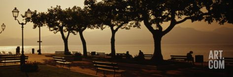 Benches in a Park, Torri del Benaco, Lake Garda, Italy Wall Decal by Panoramic Images at Art.com