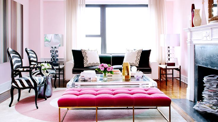 How to Decorate Like an It Girl//tufted ottoman, zebra chairs, chrome lamps, fireplace styling: Decor, Alina Cho, Living Rooms, Benches, Interiors, Apartment, Pink Wall, Leopards Prints, Zebras