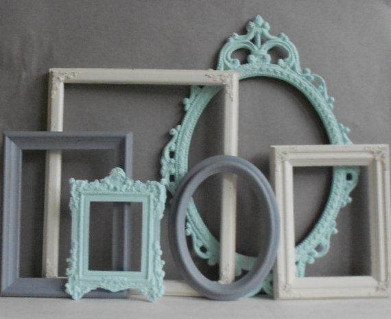 PICTURE FRAME Collection Set of 6 Mint Grey by MollyMcShabby, $62.00