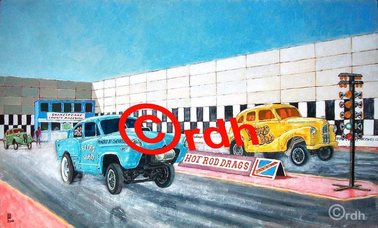 hot rod art Glorious Gassers drag racing art print by RichardDelaportHearn on Etsy