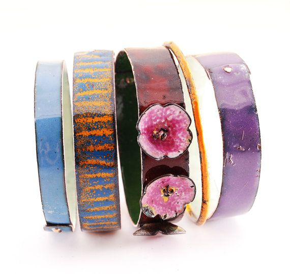 SAKURA  enameled bangles by OYRZANOWSKA on Etsy