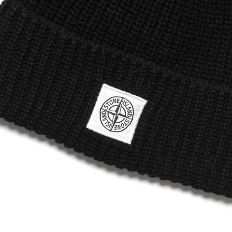 Patch Logo Ribbed Lambswool Beanie Nero