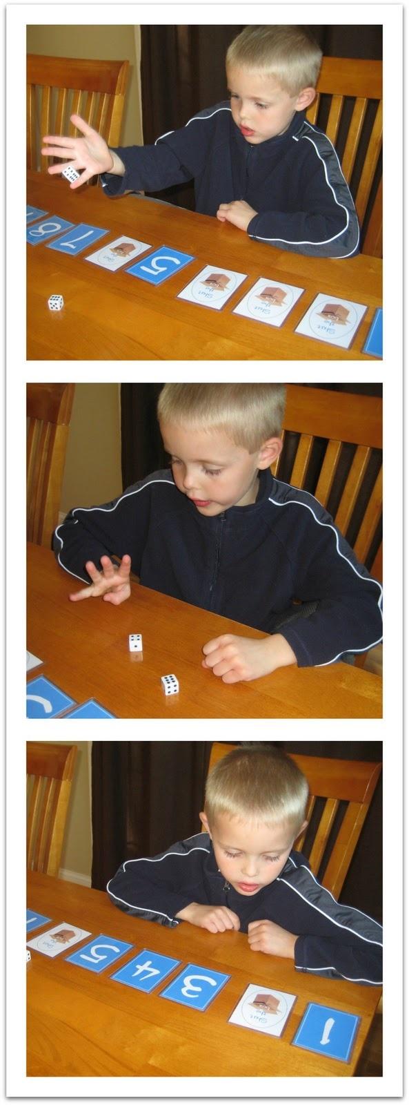 Shut the Box Dice Game - kaarten 1 tot met 9 (of zou je 12 moeten doen?). Eerste speler gooit twee dobbelstenen, telt ze op en draait het bijbehorende kaartje om, herhaalt dit net zo lang tot er een aantal wordt gegooid dat al is omgedraaid. De overgebleven getallen worden opgeteld: de score van die ronde. Dan is de andere speler aan de beurt. Zo speel je een aantal rondes