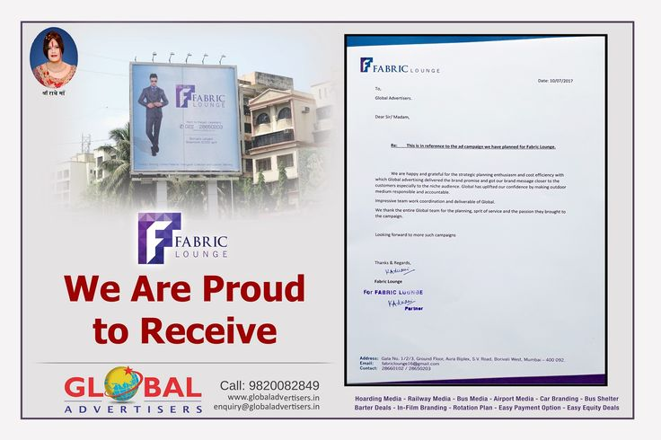 Global Advertisers is glad to receive a letter of appreciation from #FabricLounge for strategic planning, spirit of service, and cost efficiency with delivering the brand message to the right customers. #OutdoorPartner #OOH #Hoardings