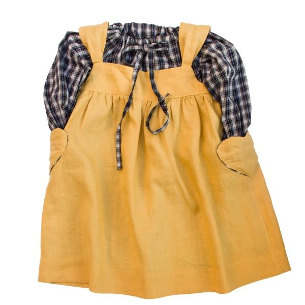 Mákvirág — Pinafore dress yellow and checked