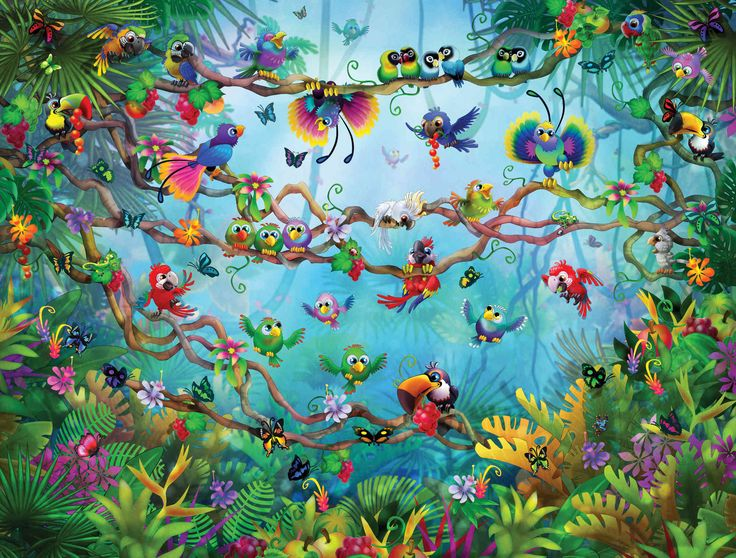 113 best images about amazing children murals murales for Bird mural wallpaper