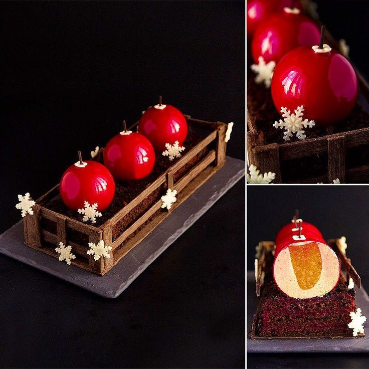 """Buche de noel """"Сhristmas box"""". Composition: The base: Chocolate sponge cake; Cherry confit. The balls: Mousse with caramelized white chocolate and tonka beans; Jelly with caramelized and baked exotic fruits. Cherry glaçage.  All decorations made with chocolate.  This Entremet we will make at my master-class in Vilnius (Lithuania) in February 2016. All schedule of my master-classes you can find at NinaTarasova.com in """"Announces"""". ----------------------------------------------- Buche de noel…"""