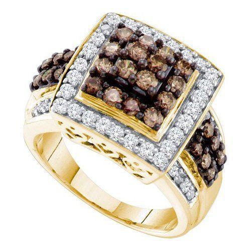 10K Yellow Gold 1.50 TCW Light Cognac Light Chocolate Champagne Diamond Rings Size 7 Includes Free Jewelry Gift Box