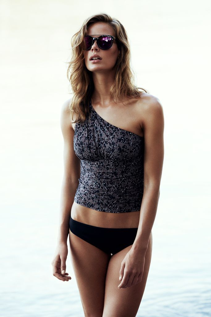 asymmetric Tankini by #Esprit - easily paired up with a plain black bikini bottom