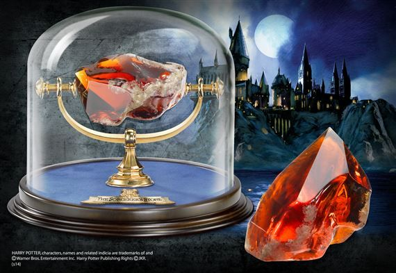 Sorcerer's Stone  Authentic replica. Cut glass red stone, with glass dome measuring approximately 6 inches in height