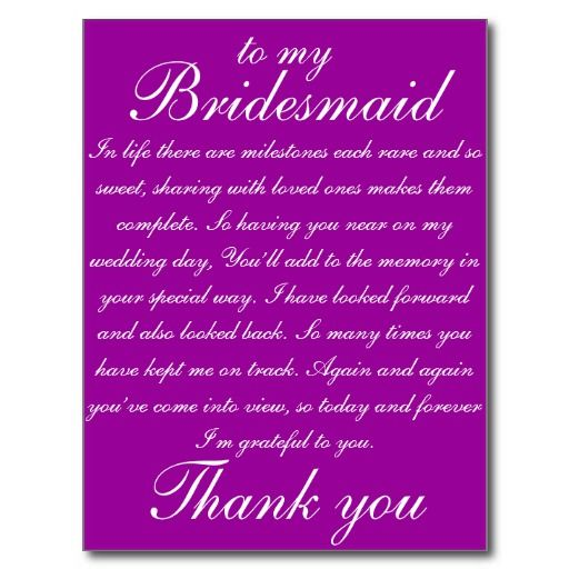 bridesmaid thank you postcard